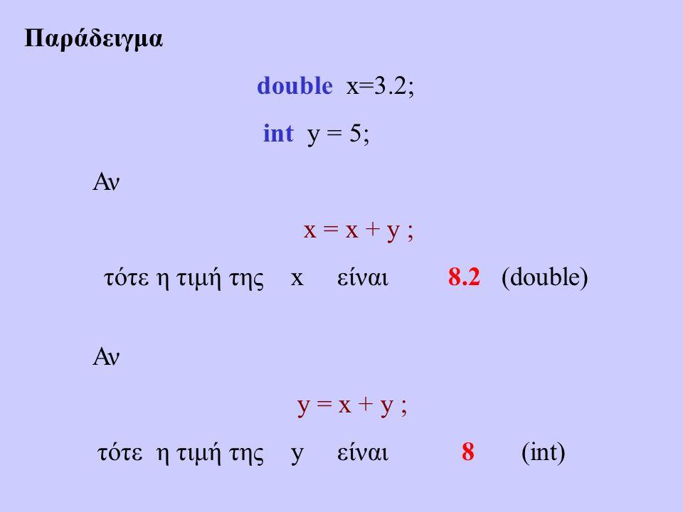 Παράδειγμα double x=3.2; int y = 5; Αν x = x + y ; τότε η τιμή της x είναι 8.2 (double) Αν y = x + y ; τότε η τιμή της y είναι 8 (int)