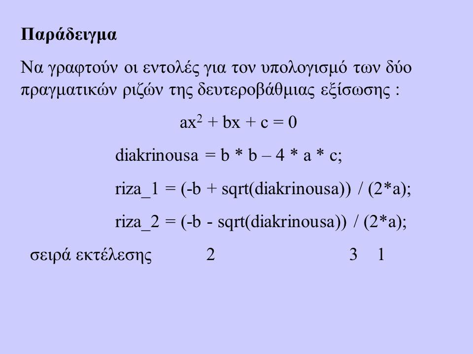 Παράδειγμα Να γραφτούν οι εντολές για τον υπολογισμό των δύο πραγματικών ριζών της δευτεροβάθμιας εξίσωσης : ax 2 + bx + c = 0 diakrinousa = b * b – 4 * a * c; riza_1 = (-b + sqrt(diakrinousa)) / (2*a); riza_2 = (-b - sqrt(diakrinousa)) / (2*a); σειρά εκτέλεσης 2 3 1