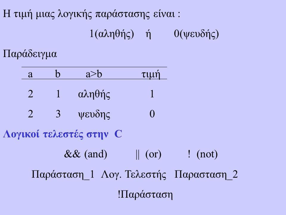 Η τιμή μιας λογικής παράστασης είναι : 1(αληθής) ή 0(ψευδής) Παράδειγμα a b a>b τιμή 2 1 αληθής 1 2 3 ψευδης 0 Λογικοί τελεστές στην C && (and) || (or) .