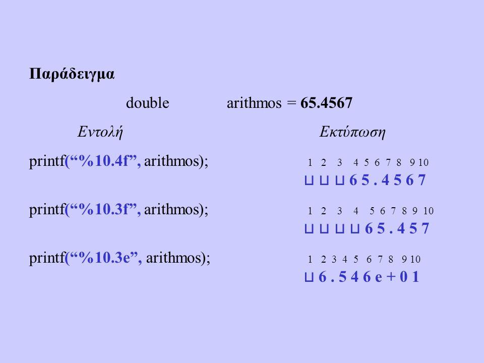 Παράδειγμα double arithmos = 65.4567 ΕντολήΕκτύπωση printf( %10.4f , arithmos); 1 2 3 4 5 6 7 8 9 10 ⊔ ⊔ ⊔ 6 5.