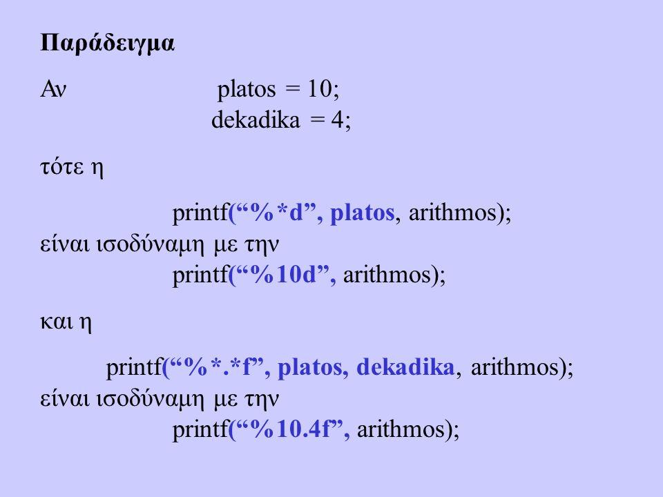 Παράδειγμα Αν platos = 10; dekadika = 4; τότε η printf( %*d , platos, arithmos); είναι ισοδύναμη με την printf( %10d , arithmos); και η printf( %*.*f , platos, dekadika, arithmos); είναι ισοδύναμη με την printf( %10.4f , arithmos);