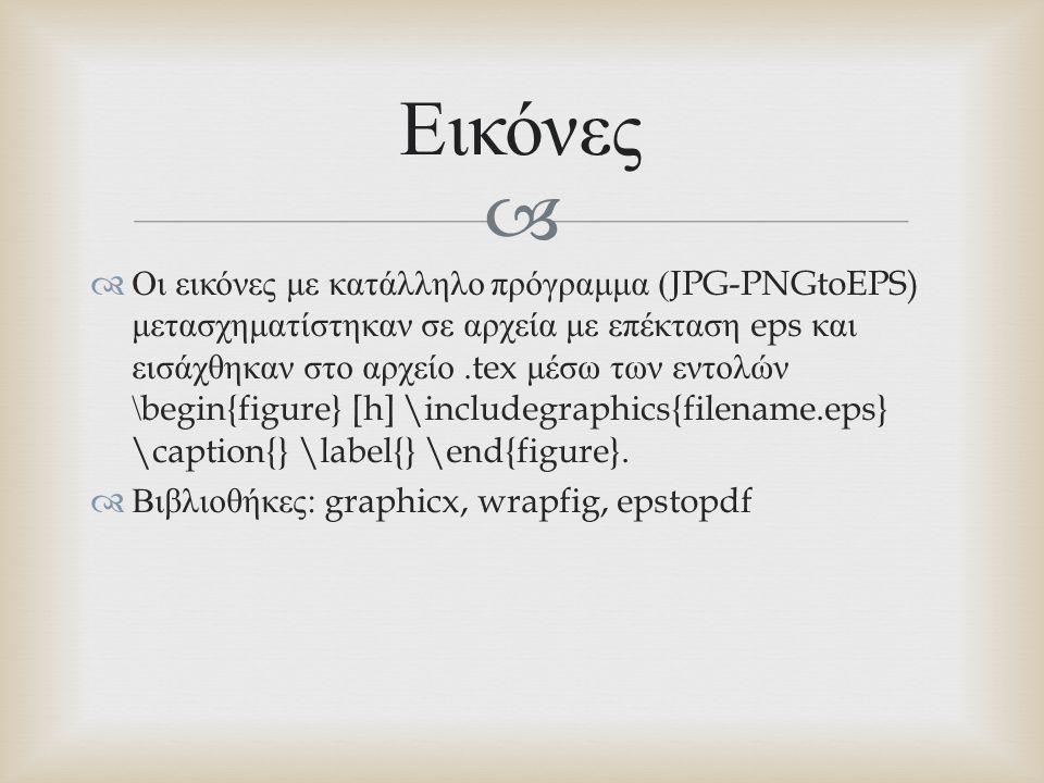   Οι εικόνες με κατάλληλο πρόγραμμα (JPG-PNGtoEPS) μετασχηματίστηκαν σε αρχεία με επέκταση eps και εισάχθηκαν στο αρχείο.tex μέσω των εντολών \begin{figure} [h] \includegraphics{filename.eps} \caption{} \label{} \end{figure}.
