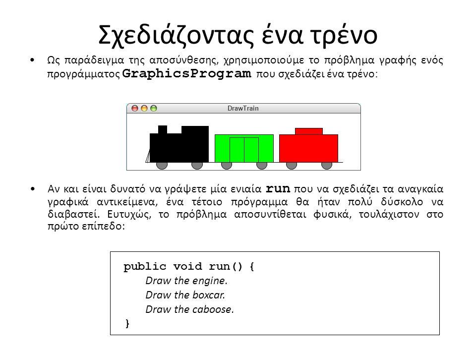 Σχεδιάζοντας ένα τρένο Ως παράδειγμα της αποσύνθεσης, χρησιμοποιούμε το πρόβλημα γραφής ενός προγράμματος GraphicsProgram που σχεδιάζει ένα τρένο : Αν και είναι δυνατό να γράψετε μία ενιαία run που να σχεδιάζει τα αναγκαία γραφικά αντικείμενα, ένα τέτοιο πρόγραμμα θα ήταν πολύ δύσκολο να διαβαστεί.