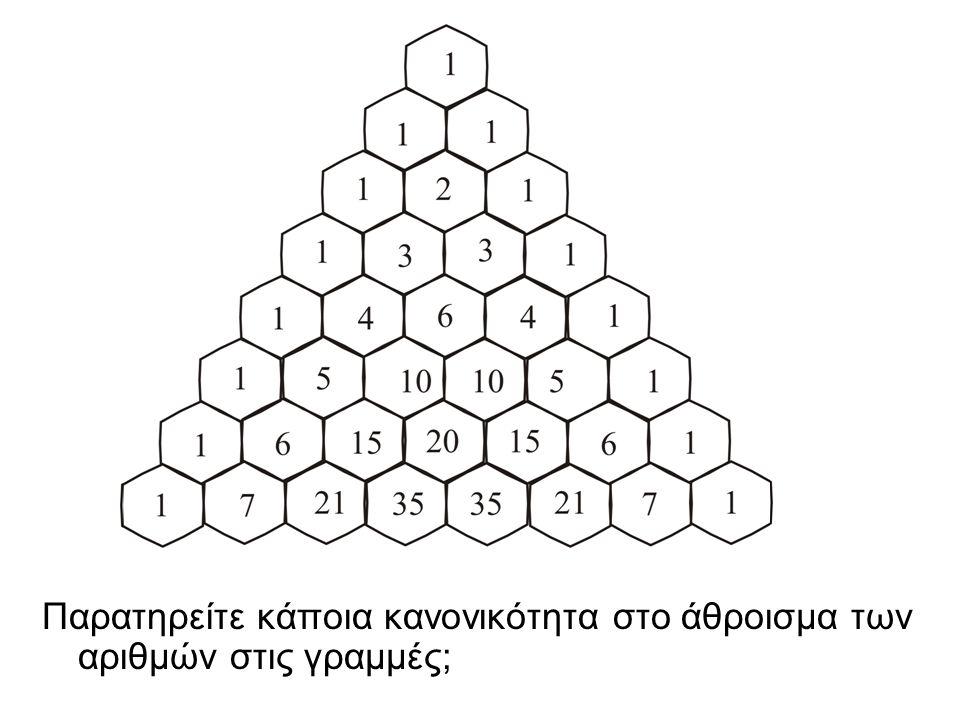 Παρατηρείτε κάποια κανονικότητα στο άθροισμα των αριθμών στις γραμμές;