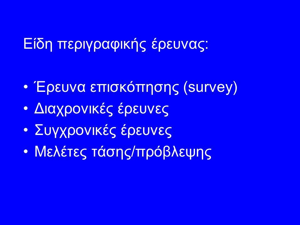 Είδη περιγραφικής έρευνας: Έρευνα επισκόπησης (survey) Διαχρονικές έρευνες Συγχρονικές έρευνες Μελέτες τάσης/πρόβλεψης