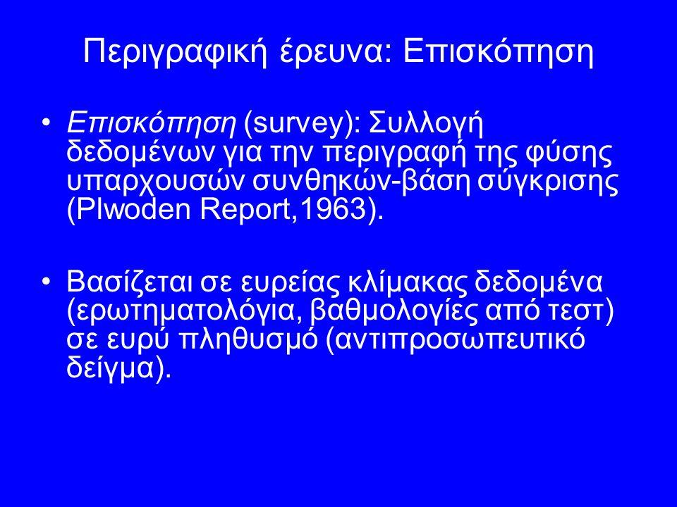 Περιγραφική έρευνα: Επισκόπηση Επισκόπηση (survey): Συλλογή δεδομένων για την περιγραφή της φύσης υπαρχουσών συνθηκών-βάση σύγκρισης (Plwoden Report,1963).