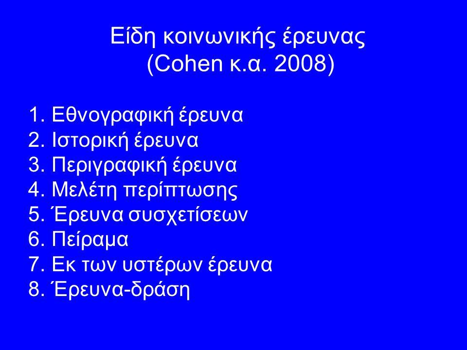 Είδη κοινωνικής έρευνας (Cohen κ.α. 2008) 1.Εθνογραφική έρευνα 2.Ιστορική έρευνα 3.Περιγραφική έρευνα 4.Μελέτη περίπτωσης 5.Έρευνα συσχετίσεων 6.Πείρα