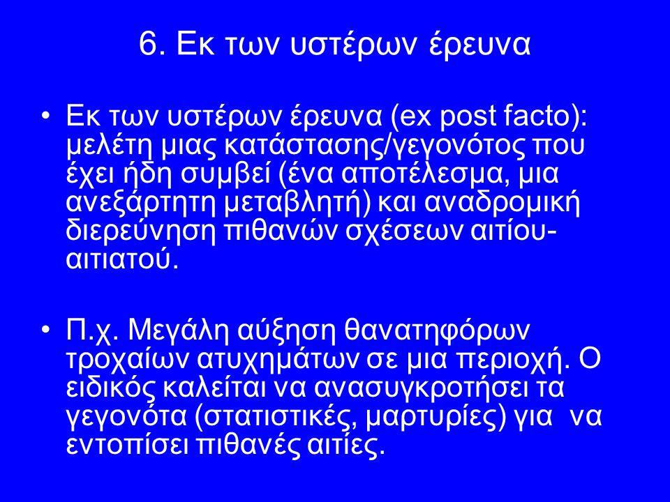 6. Εκ των υστέρων έρευνα Εκ των υστέρων έρευνα (ex post facto): μελέτη μιας κατάστασης/γεγονότος που έχει ήδη συμβεί (ένα αποτέλεσμα, μια ανεξάρτητη μ