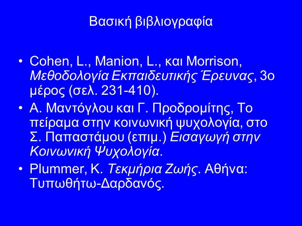 Βασική βιβλιογραφία Cohen, L., Manion, L., και Morrison, Μεθοδολογία Εκπαιδευτικής Έρευνας, 3ο μέρος (σελ. 231-410). Α. Μαντόγλου και Γ. Προδρομίτης,