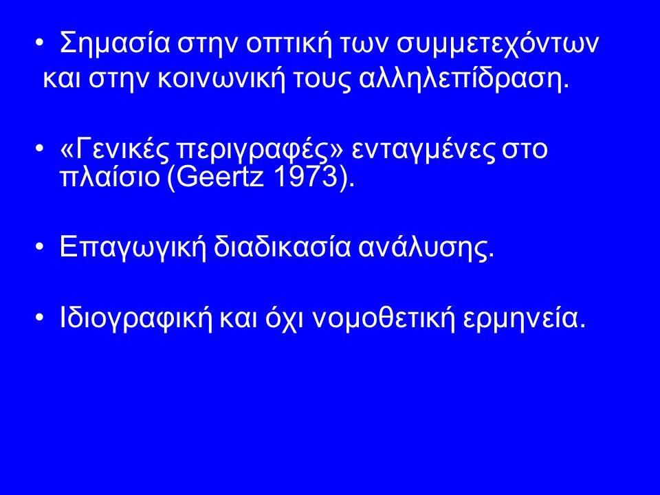 Σημασία στην οπτική των συμμετεχόντων και στην κοινωνική τους αλληλεπίδραση. «Γενικές περιγραφές» ενταγμένες στο πλαίσιο (Geertz 1973). Επαγωγική διαδ