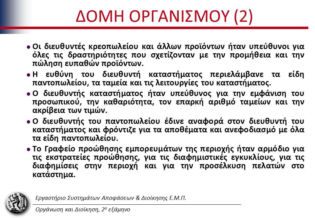 Εργαστήριο Συστημάτων Αποφάσεων & Διοίκησης Ε.Μ.Π. Οργάνωση και Διοίκηση, 2 ο εξάμηνο ΔΟΜΗ ΟΡΓΑΝΙΣΜΟΥ (2) Οι διευθυντές κρεοπωλείου και άλλων προϊόντω