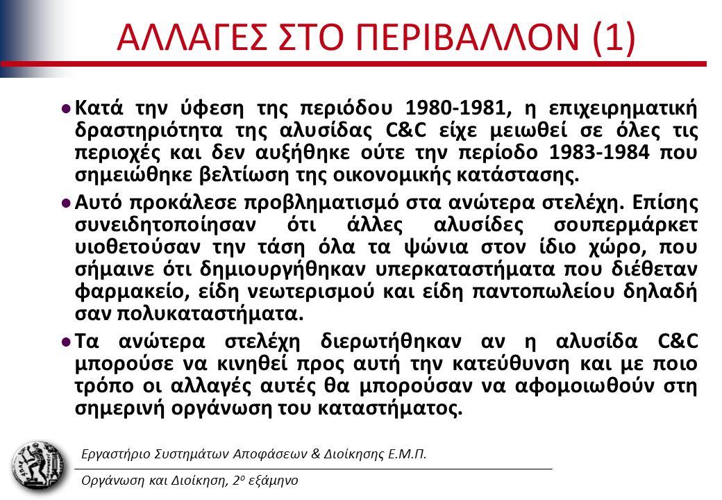 Εργαστήριο Συστημάτων Αποφάσεων & Διοίκησης Ε.Μ.Π. Οργάνωση και Διοίκηση, 2 ο εξάμηνο ΑΛΛΑΓΕΣ ΣΤΟ ΠΕΡΙΒΑΛΛΟΝ (1) Κατά την ύφεση της περιόδου 1980-1981