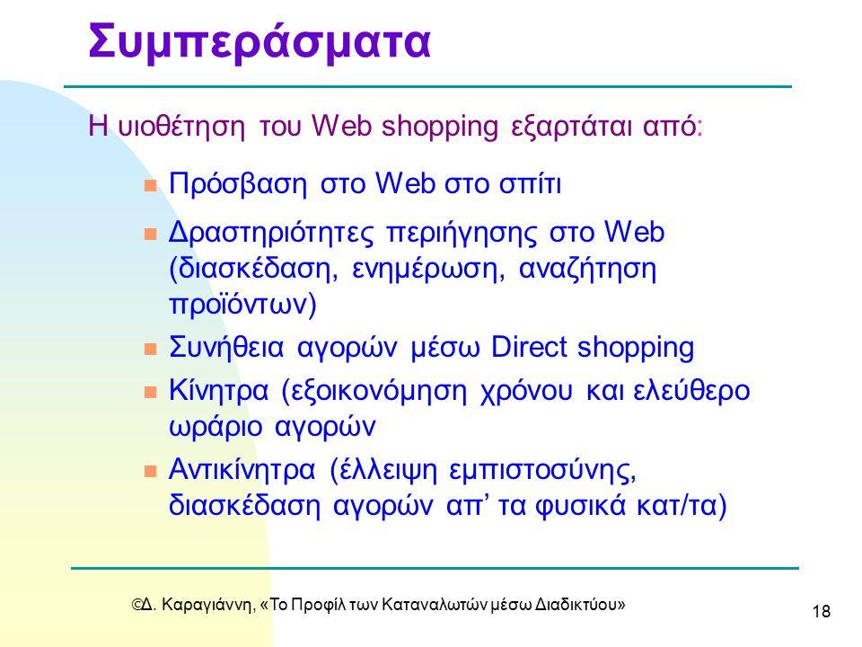  Δ. Καραγιάννη, «Το Προφίλ των Καταναλωτών μέσω Διαδικτύου» 18 Η υιοθέτηση του Web shopping εξαρτάται από: n Πρόσβαση στο Web στο σπίτι n Δραστηριότη
