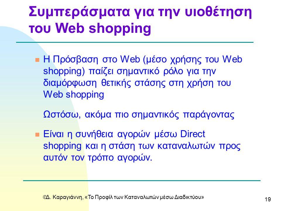  Δ. Καραγιάννη, «Το Προφίλ των Καταναλωτών μέσω Διαδικτύου» 19 n Η Πρόσβαση στο Web (μέσο χρήσης του Web shopping) παίζει σημαντικό ρόλο για την διαμ