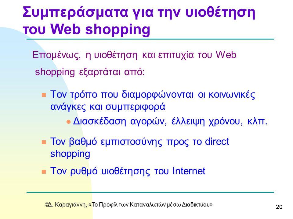  Δ. Καραγιάννη, «Το Προφίλ των Καταναλωτών μέσω Διαδικτύου» 20 Eπομένως, η υιοθέτηση και επιτυχία του Web shopping εξαρτάται από: n Τoν τρόπο που δια