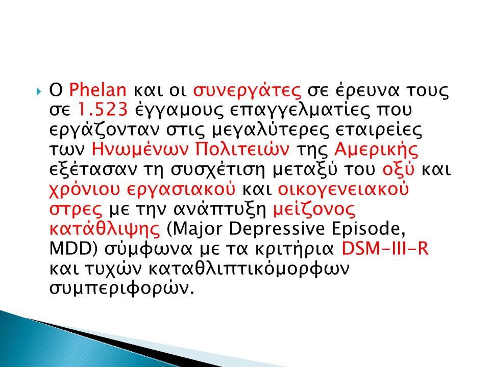  Ο Phelan και οι συνεργάτες σε έρευνα τους σε 1.523 έγγαμους επαγγελματίες που εργάζονταν στις μεγαλύτερες εταιρείες των Ηνωμένων Πολιτειών της Αμερικής εξέτασαν τη συσχέτιση μεταξύ του οξύ και χρόνιου εργασιακού και οικογενειακού στρες με την ανάπτυξη μείζονος κατάθλιψης (Major Depressive Episode, MDD) σύμφωνα με τα κριτήρια DSM-III-R και τυχών καταθλιπτικόμορφων συμπεριφορών.