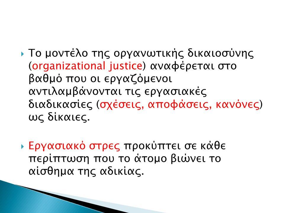  Το μοντέλο της οργανωτικής δικαιοσύνης (organizational justice) αναφέρεται στο βαθμό που οι εργαζόμενοι αντιλαμβάνονται τις εργασιακές διαδικασίες (σχέσεις, αποφάσεις, κανόνες) ως δίκαιες.