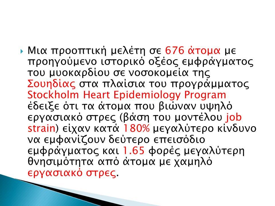  Μια προοπτική μελέτη σε 676 άτομα με προηγούμενο ιστορικό οξέος εμφράγματος του μυοκαρδίου σε νοσοκομεία της Σουηδίας στα πλαίσια του προγράμματος Stockholm Heart Epidemiology Program έδειξε ότι τα άτομα που βιώναν υψηλό εργασιακό στρες (βάση του μοντέλου job strain) είχαν κατά 180% μεγαλύτερο κίνδυνο να εμφανίζουν δεύτερο επεισόδιο εμφράγματος και 1.65 φορές μεγαλύτερη θνησιμότητα από άτομα με χαμηλό εργασιακό στρες.