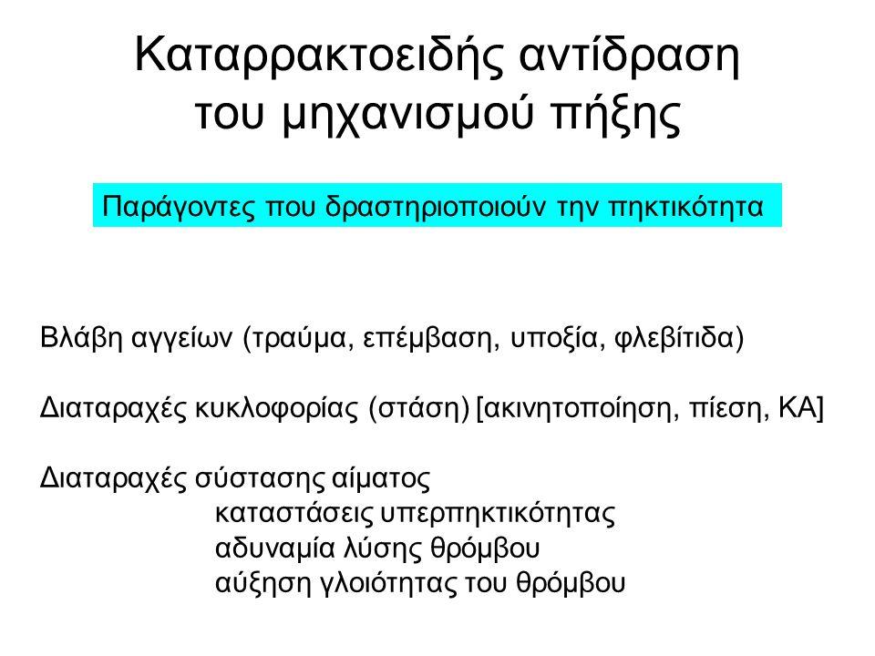 Καταρρακτοειδής αντίδραση του μηχανισμού πήξης Παράγοντες που δραστηριοποιούν την πηκτικότητα Βλάβη αγγείων (τραύμα, επέμβαση, υποξία, φλεβίτιδα) Διαταραχές κυκλοφορίας (στάση) [ακινητοποίηση, πίεση, ΚΑ] Διαταραχές σύστασης αίματος καταστάσεις υπερπηκτικότητας αδυναμία λύσης θρόμβου αύξηση γλοιότητας του θρόμβου