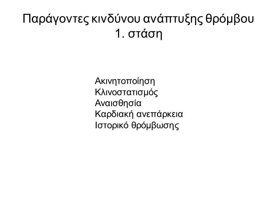 Παράγοντες κινδύνου ανάπτυξης θρόμβου 1.