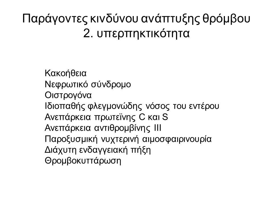 Παράγοντες κινδύνου ανάπτυξης θρόμβου 2.