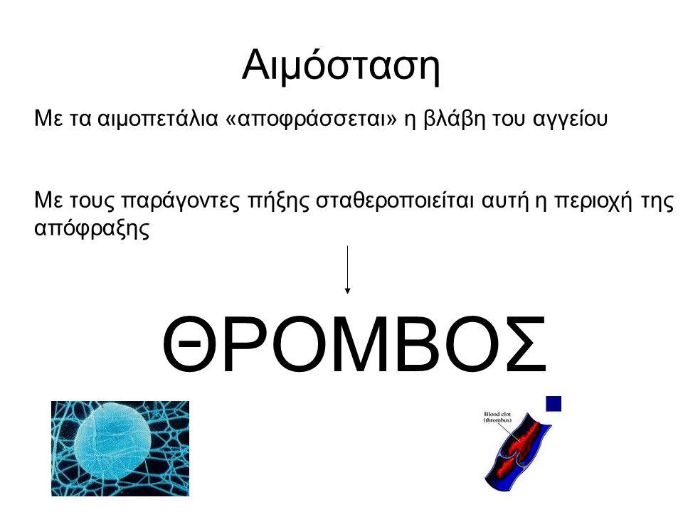 Αιμόσταση Με τα αιμοπετάλια «αποφράσσεται» η βλάβη του αγγείου Με τους παράγοντες πήξης σταθεροποιείται αυτή η περιοχή της απόφραξης ΘΡΟΜΒΟΣ
