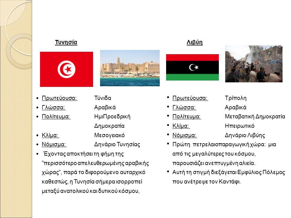 Τυνησία Πρωτεύουσα: Τύνιδα Γλώσσα: Αραβικά Πολίτευμα: ΗμιΠροεδρική Δημοκρατία Κλίμα: Μεσογειακό Νόμισμα: Δηνάριο Τυνησίας Έχοντας αποκτήσει τη φήμη της περισσότερο απελευθερωμένης αραβικής χώρας , παρά το διφορούμενο αυταρχικό καθεστώς, η Τυνησία σήμερα ισορροπεί μεταξύ ανατολικού και δυτικού κόσμου, Λιβύη Πρωτεύουσα: Τρίπολη Γλώσσα: Αραβικά Πολίτευμα: Μεταβατική Δημοκρατία Κλίμα: Ηπειρωτικό Νόμισμα: Δηνάριο Λιβύης Πρώτη πετρελαιοπαραγωγική χώρα: μια από τις μεγαλύτερες του κόσμου, παρουσιάζει ανεπτυγμένη αλιεία.