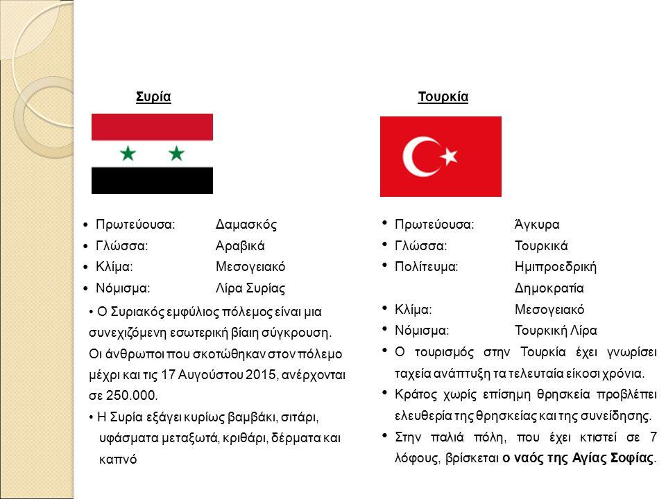 Συρία Πρωτεύουσα: Δαμασκός Γλώσσα: Αραβικά Κλίμα: Μεσογειακό Νόμισμα: Λίρα Συρίας Ο Συριακός εμφύλιος πόλεμος είναι μια συνεχιζόμενη εσωτερική βίαιη σύγκρουση.