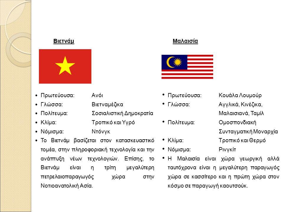 Βιετνάμ Πρωτεύουσα: Ανόι Γλώσσα: Βιετναμέζικα Πολίτευμα: Σοσιαλιστική Δημοκρατία Κλίμα: Τροπικό και Υγρό Νόμισμα: Ντόνγκ Το Βιετνάμ βασίζεται στον κατασκευαστικό τομέα, στην πληροφοριακή τεχνολογία και την ανάπτυξη νέων τεχνολογιών.