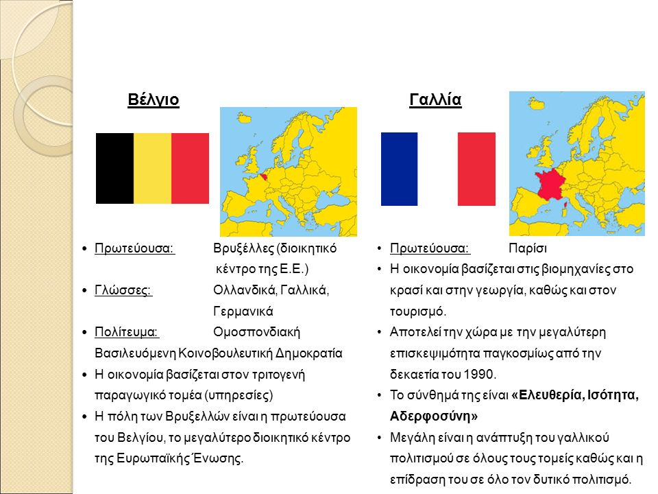 Βέλγιο Πρωτεύουσα: Βρυξέλλες (διοικητικό κέντρο της Ε.Ε.) Γλώσσες: Ολλανδικά, Γαλλικά, Γερμανικά Πολίτευμα: Ομοσπονδιακή Βασιλευόμενη Κοινοβουλευτική Δημοκρατία Η οικονομία βασίζεται στον τριτογενή παραγωγικό τομέα (υπηρεσίες) Η πόλη των Βρυξελλών είναι η πρωτεύουσα του Βελγίου, το μεγαλύτερο διοικητικό κέντρο της Ευρωπαϊκής Ένωσης.