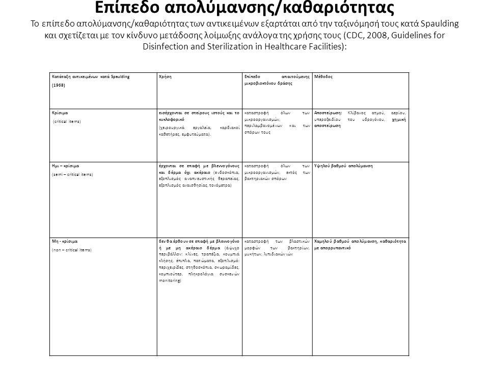 Επίπεδο απολύμανσης/καθαριότητας Το επίπεδο απολύμανσης/καθαριότητας των αντικειμένων εξαρτάται από την ταξινόμησή τους κατά Spaulding και σχετίζεται με τον κίνδυνο μετάδοσης λοίμωξης ανάλογα της χρήσης τους (CDC, 2008, Guidelines for Disinfection and Sterilization in Healthcare Facilities): Κατάταξη αντικειμένων κατά Spaulding (1968) Χρήση Επίπεδο απαιτούμενης μικροβιοκτόνου δράσης Μέθοδος Κρίσιμα (critical items) εισέρχονται σε στείρους ιστούς και το κυκλοφορικό (χειρουργικά εργαλεία, καρδιακοί καθετήρες, εμφυτεύματα).