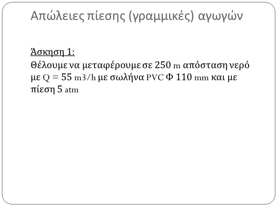 Απώλειες πίεσης ( γραμμικές ) αγωγών Άσκηση 1: Θέλουμε να μεταφέρουμε σε 250 m απόσταση νερό με Q = 55 m3/h με σωλήνα PVC Φ 110 mm και με πίεση 5 atm