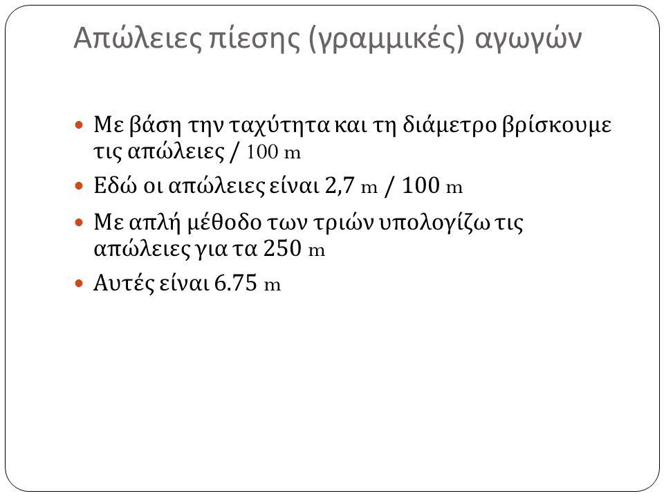 Απώλειες πίεσης ( γραμμικές ) αγωγών Με βάση την ταχύτητα και τη διάμετρο βρίσκουμε τις απώλειες / 100 m Εδώ οι απώλειες είναι 2,7 m / 100 m Με απλή μέθοδο των τριών υπολογίζω τις απώλειες για τα 250 m Αυτές είναι 6.75 m