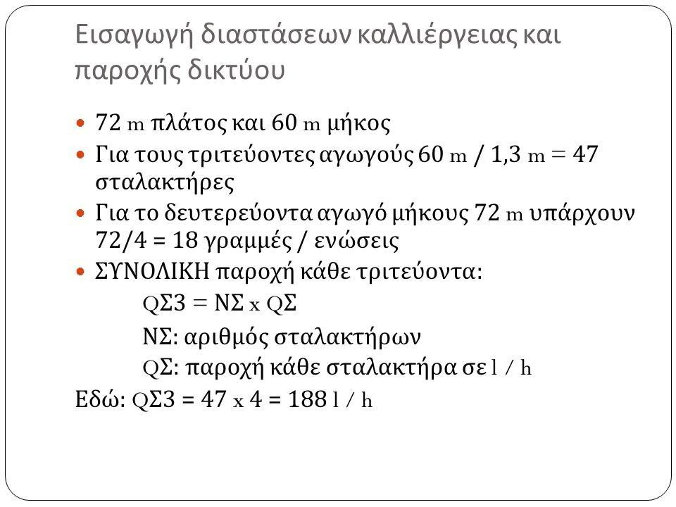 Εισαγωγή διαστάσεων καλλιέργειας και παροχής δικτύου 72 m πλάτος και 60 m μήκος Για τους τριτεύοντες αγωγούς 60 m / 1,3 m = 47 σταλακτήρες Για το δευτερεύοντα αγωγό μήκους 72 m υπάρχουν 72/4 = 18 γραμμές / ενώσεις ΣΥΝΟΛΙΚΗ παροχή κάθε τριτεύοντα : Q Σ 3 = ΝΣ x Q Σ ΝΣ : αριθμός σταλακτήρων Q Σ : παροχή κάθε σταλακτήρα σε l / h Εδώ : Q Σ 3 = 47 x 4 = 188 l / h