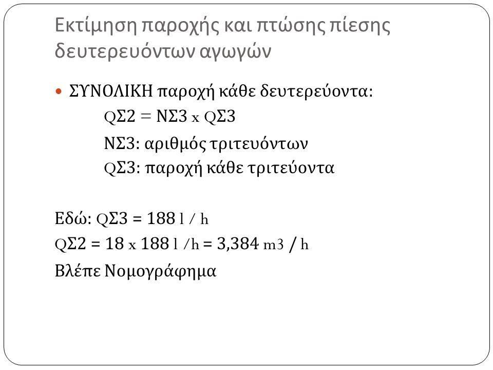Εκτίμηση παροχής και πτώσης πίεσης δευτερευόντων αγωγών ΣΥΝΟΛΙΚΗ παροχή κάθε δευτερεύοντα : Q Σ 2 = ΝΣ 3 x Q Σ 3 ΝΣ 3: αριθμός τριτευόντων Q Σ 3: παροχή κάθε τριτεύοντα Εδώ : Q Σ 3 = 188 l / h Q Σ 2 = 18 x 188 l /h = 3,384 m3 / h Βλέπε Νομογράφημα