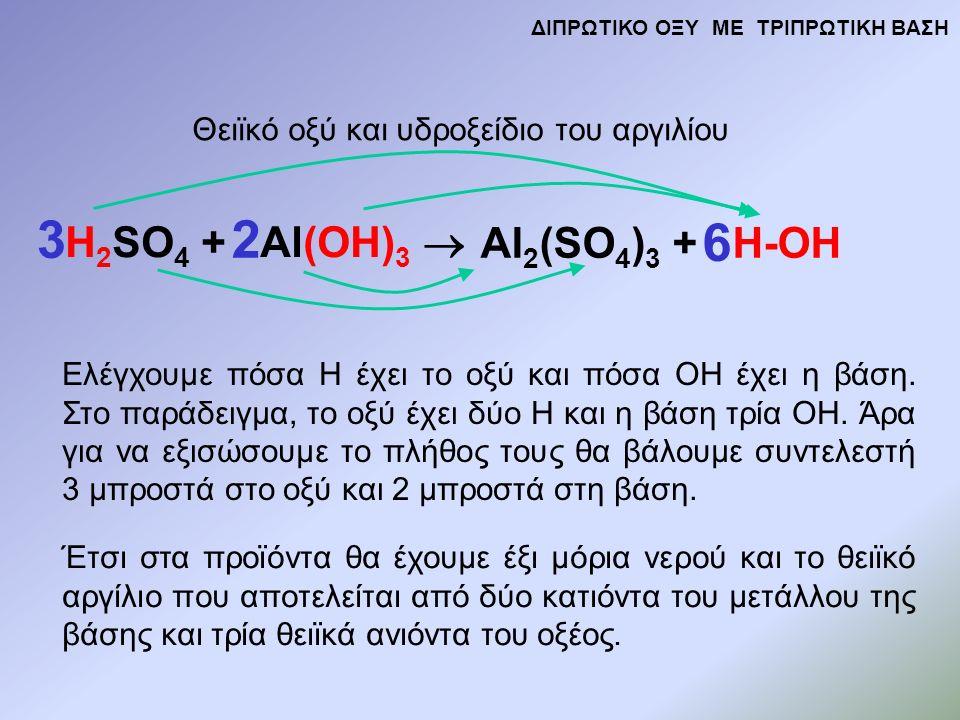 H 2 SO 4 + Al(OH) 3  Al 2 (SO 4 ) 3 + H-OH Θειϊκό οξύ και υδροξείδιο του αργιλίου Ελέγχουμε πόσα Η έχει το οξύ και πόσα ΟΗ έχει η βάση.
