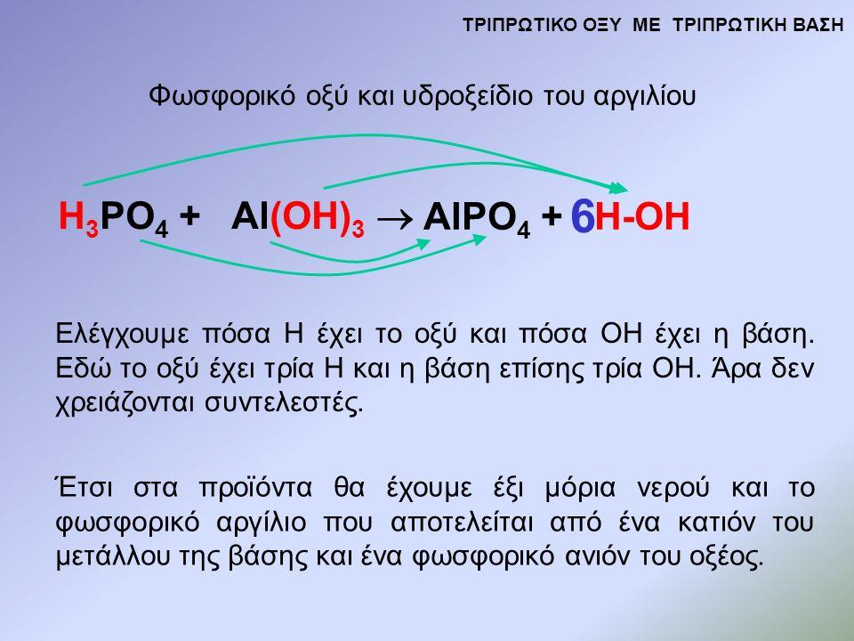 H 3 PO 4 + Al(OH) 3  AlPO 4 + H-OH Φωσφορικό οξύ και υδροξείδιο του αργιλίου Ελέγχουμε πόσα Η έχει το οξύ και πόσα ΟΗ έχει η βάση.