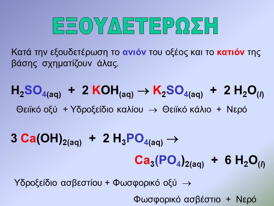 Κατά την εξουδετέρωση το ανιόν του οξέος και το κατιόν της βάσης σχηματίζουν άλας.