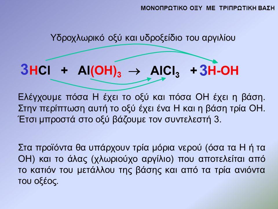 HCl + Al(OH) 3  AlCl 3 + H-OH Υδροχλωρικό οξύ και υδροξείδιο του αργιλίου Ελέγχουμε πόσα Η έχει το οξύ και πόσα ΟΗ έχει η βάση.