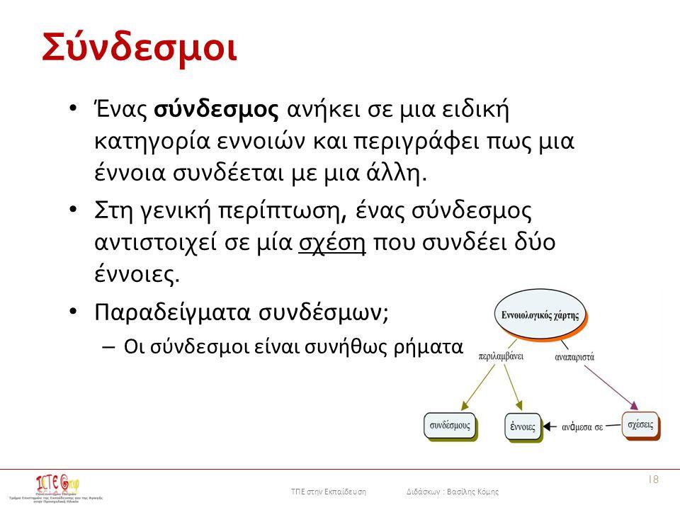 ΤΠΕ στην Εκπαίδευση Διδάσκων : Βασίλης Κόμης Σύνδεσμοι 18 Ένας σύνδεσμος ανήκει σε μια ειδική κατηγορία εννοιών και περιγράφει πως μια έννοια συνδέεται με μια άλλη.