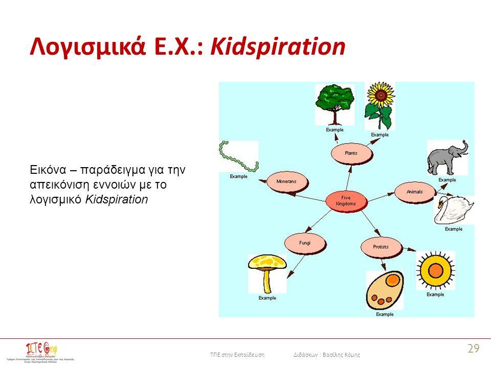 ΤΠΕ στην Εκπαίδευση Διδάσκων : Βασίλης Κόμης Λογισμικά Ε.Χ.: Kidspiration 29 Εικόνα – παράδειγμα για την απεικόνιση εννοιών με το λογισμικό Kidspiration