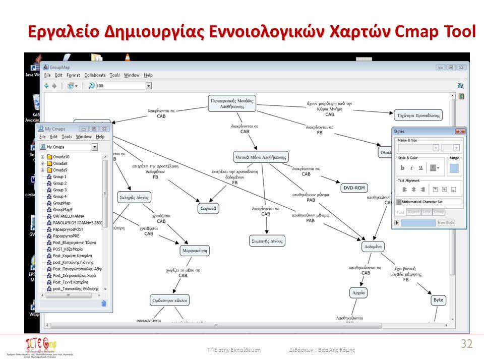 ΤΠΕ στην Εκπαίδευση Διδάσκων : Βασίλης Κόμης Εργαλείο Δημιουργίας Εννοιολογικών Χαρτών Εργαλείο Δημιουργίας Εννοιολογικών Χαρτών Cmap Tool 32