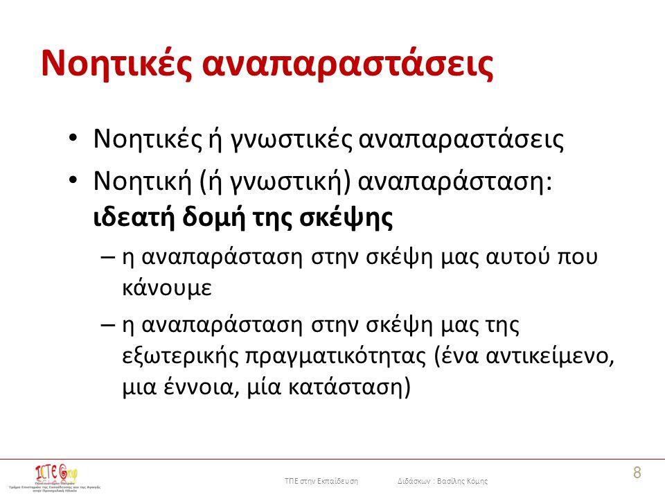 ΤΠΕ στην Εκπαίδευση Διδάσκων : Βασίλης Κόμης Στιγμιότυπα 19 Ένα στιγμιότυπο είναι μια πρόταση της μορφής «έννοια – σύνδεσμος – έννοια» και περιγράφει τη σχέση ανάμεσα στις δύο έννοιες.