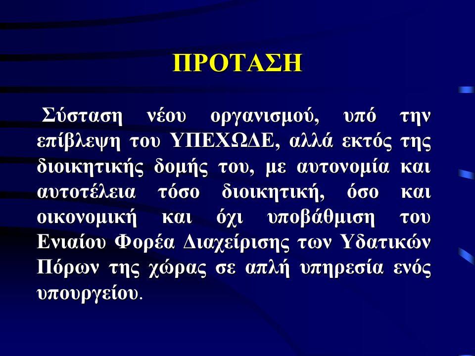 ΠΡΟΤΑΣΗ Σύσταση νέου οργανισμού, υπό την επίβλεψη του ΥΠΕΧΩΔΕ, αλλά εκτός της διοικητικής δομής του, με αυτονομία και αυτοτέλεια τόσο διοικητική, όσο και οικονομική και όχι υποβάθμιση του Ενιαίου Φορέα Διαχείρισης των Υδατικών Πόρων της χώρας σε απλή υπηρεσία ενός υπουργείου Σύσταση νέου οργανισμού, υπό την επίβλεψη του ΥΠΕΧΩΔΕ, αλλά εκτός της διοικητικής δομής του, με αυτονομία και αυτοτέλεια τόσο διοικητική, όσο και οικονομική και όχι υποβάθμιση του Ενιαίου Φορέα Διαχείρισης των Υδατικών Πόρων της χώρας σε απλή υπηρεσία ενός υπουργείου.