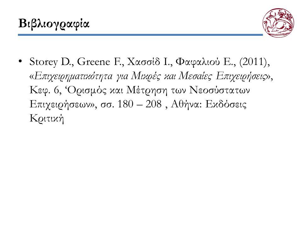 Βιβλιογραφία Storey D., Greene F., Χασσίδ Ι., Φαφαλιού Ε., (2011), «Επιχειρηματικότητα για Μικρές και Μεσαίες Επιχειρήσεις», Κεφ. 6, 'Ορισμός και Μέτρ