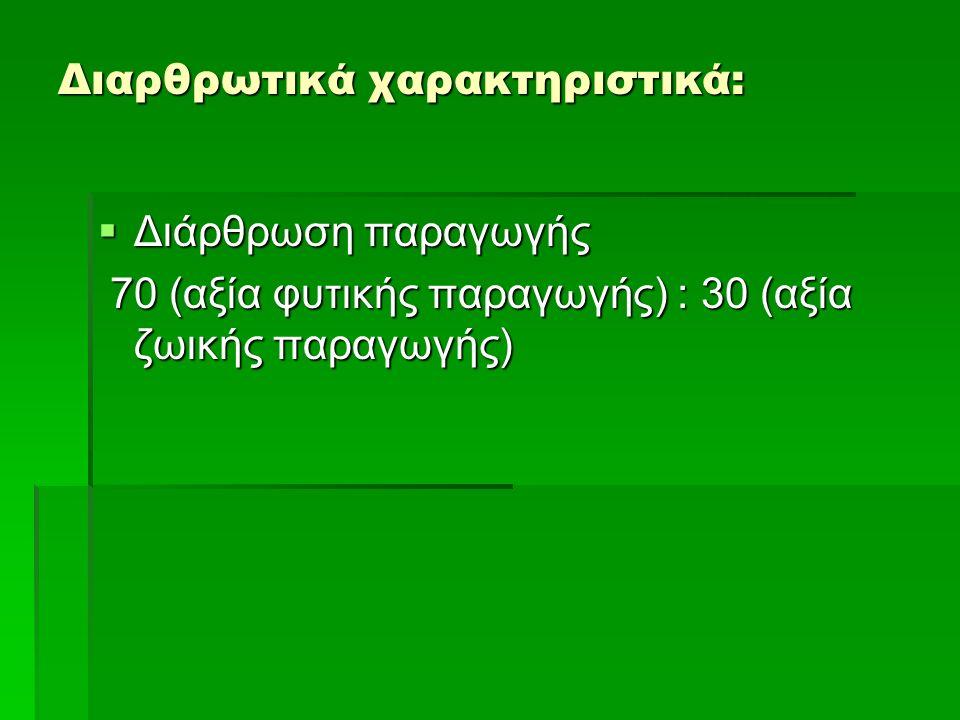 Διαρθρωτικά χαρακτηριστικά:  Διάρθρωση παραγωγής 70 (αξία φυτικής παραγωγής) : 30 (αξία ζωικής παραγωγής) 70 (αξία φυτικής παραγωγής) : 30 (αξία ζωικ