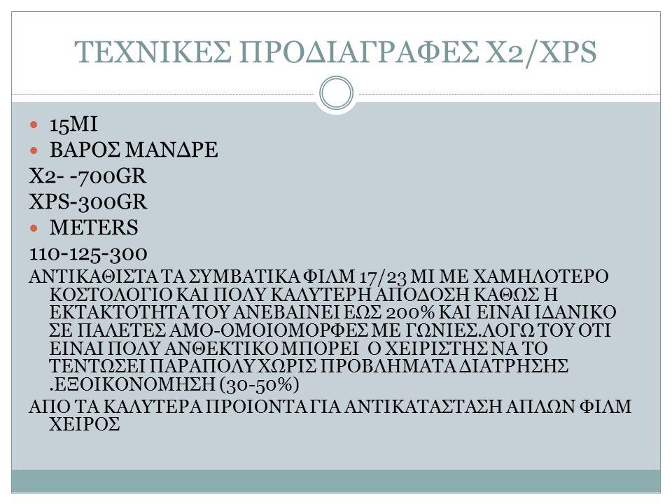 ΤΕΧΝΙΚΕΣ ΠΡΟΔΙΑΓΡΑΦΕΣ Χ2/XPS 15MI ΒΑΡΟΣ ΜΑΝΔΡΕ Χ2- -700GR XPS-300GR METERS 110-125-300 ΑΝΤΙΚΑΘΙΣΤΑ ΤΑ ΣΥΜΒΑΤΙΚΑ ΦΙΛΜ 17/23 ΜΙ ΜΕ ΧΑΜΗΛΟΤΕΡΟ ΚΟΣΤΟΛΟΓΙΟ ΚΑΙ ΠΟΛΥ ΚΑΛΥΤΕΡΗ ΑΠΟΔΟΣΗ ΚΑΘΩΣ Η ΕΚΤΑΚΤΟΤΗΤΑ ΤΟΥ ΑΝΕΒΑΙΝΕΙ ΕΩΣ 200% ΚΑΙ ΕΙΝΑΙ ΙΔΑΝΙΚΟ ΣΕ ΠΑΛΕΤΕΣ AMO-ΟΜΟΙΟΜΟΡΦΕΣ ME ΓΩΝΙΕΣ.ΛΟΓΩ ΤΟΥ ΟΤΙ ΕΙΝΑΙ ΠΟΛΥ ΑΝΘΕΚΤΙΚΟ ΜΠΟΡΕΙ Ο ΧΕΙΡΙΣΤΗΣ ΝΑ ΤΟ ΤΕΝΤΩΣΕΙ ΠΑΡΑΠΟΛΥ ΧΩΡΙΣ ΠΡΟΒΛΗΜΑΤΑ ΔΙΑΤΡΗΣΗΣ.ΕΞΟΙΚΟΝΟΜΗΣΗ (30-50%) ΑΠΟ ΤΑ ΚΑΛΥΤΕΡΑ ΠΡΟΙΟΝΤΑ ΓΙΑ ΑΝΤΙΚΑΤΑΣΤΑΣΗ ΑΠΛΩΝ ΦΙΛΜ ΧΕΙΡΟΣ