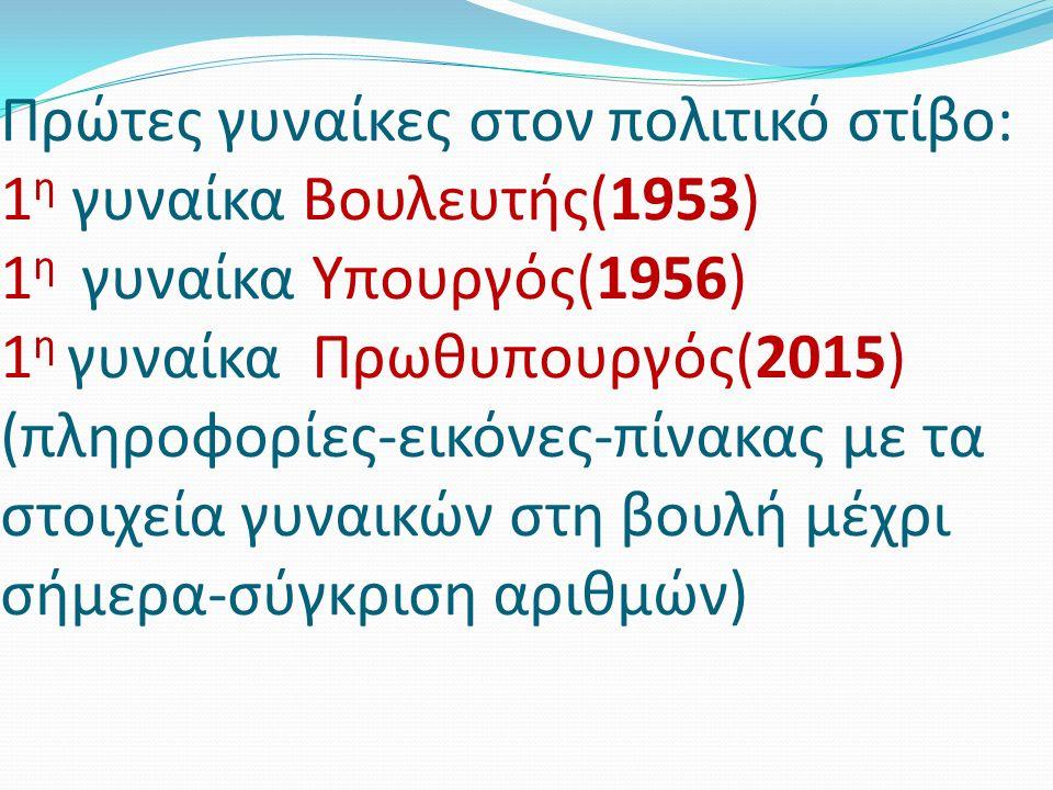 Πρώτες γυναίκες στον πολιτικό στίβο: 1 η γυναίκα Βουλευτής(1953) 1 η γυναίκα Υπουργός(1956) 1 η γυναίκα Πρωθυπουργός(2015) (πληροφορίες-εικόνες-πίνακα