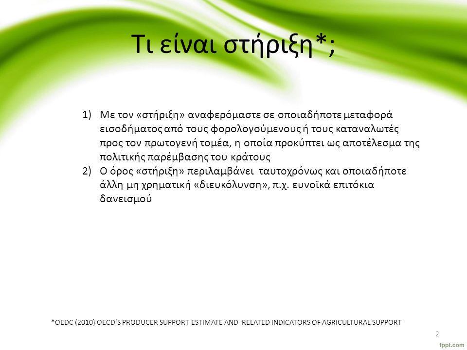 Τι είναι στήριξη*; 1)Με τον «στήριξη» αναφερόμαστε σε οποιαδήποτε μεταφορά εισοδήματος από τους φορολογούμενους ή τους καταναλωτές προς τον πρωτογενή