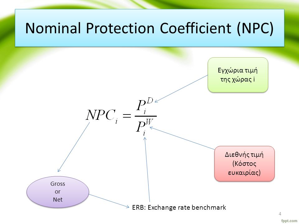 Nominal Protection Coefficient (NPC) Διεθνής τιμή (Κόστος ευκαιρίας) Εγχώρια τιμή της χώρας i Εγχώρια τιμή της χώρας i ERB: Exchange rate benchmark Gross or Net Gross or Net 4